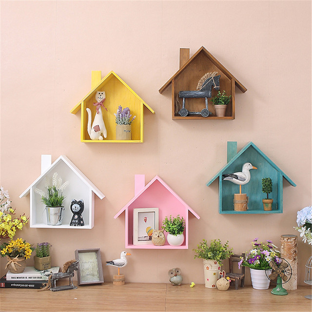 wooden wall decor retro village colored small house wall shelf hanging organizer christmas wall decorations for