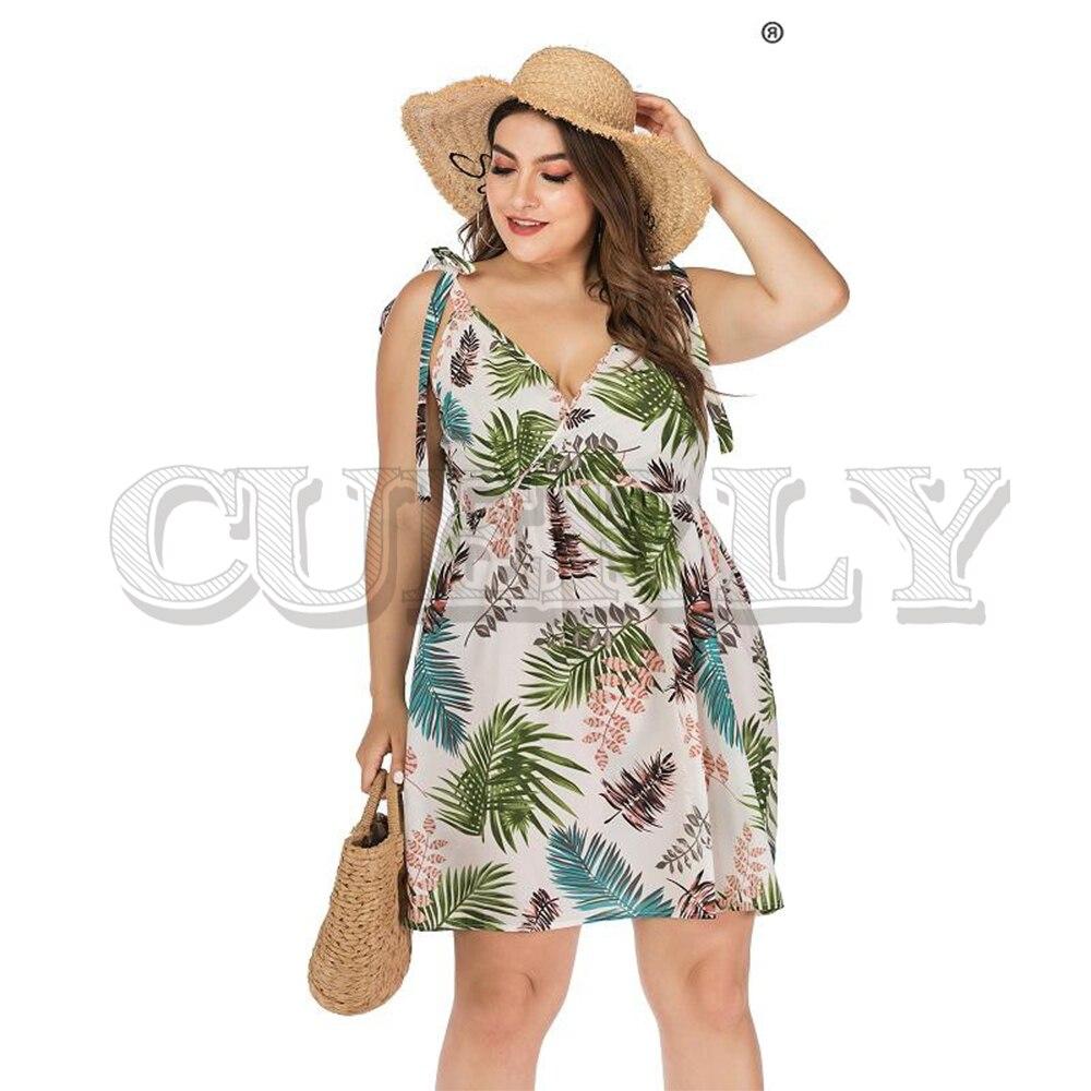 Jolie feuille imprimer femmes plage robe été grande taille vacances à lacets robes sans manches courtes dames vestidos élégant 2019