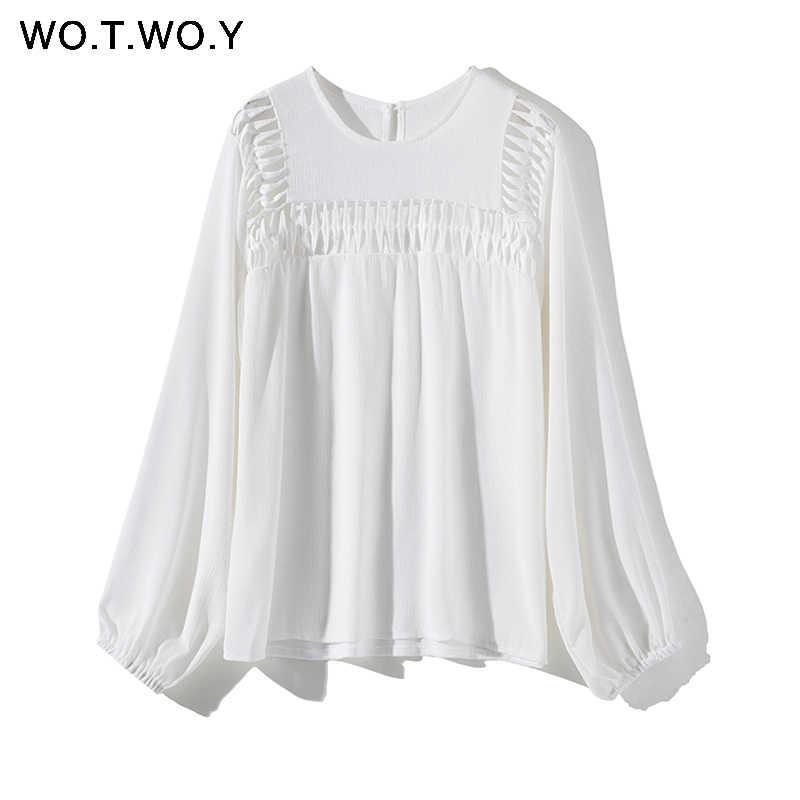 WOTWOY белый выдалбливают Блузки для малышек женские 2019 Новинка весны рубашки с длинными рукавами Повседневное Streatwear топы и блузк