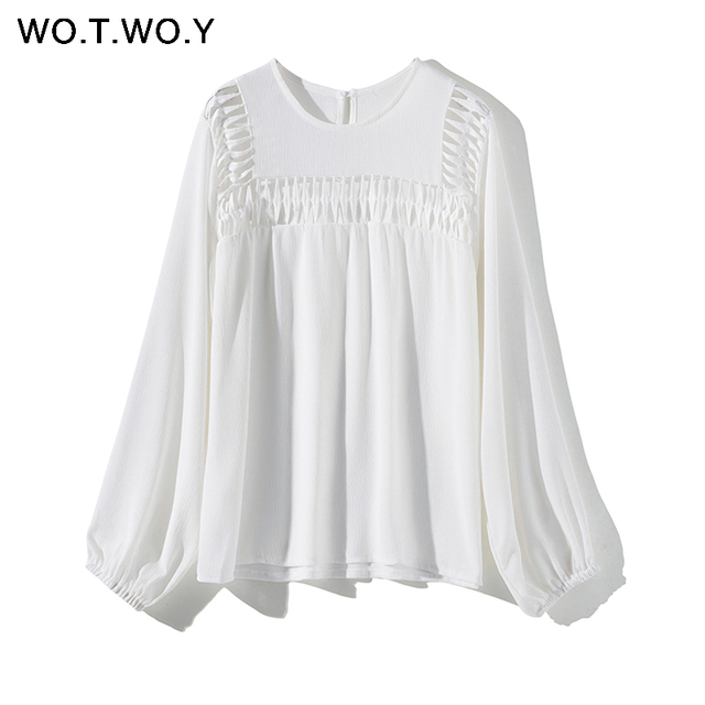 WOTWOY White Hollow Out  Blouses Womens 2019 New Spring  Long Sleeve Shirts Casual Streatwear Womens Tops and Blouses Harajuku Women Blouses & Shirts