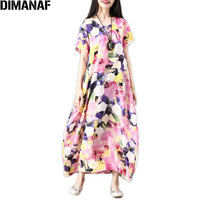 DIMANAF Women Summer Dress Plus Size Print Elegant Lady Vestido Femme Sundress Casual Loose Long Dress Large Clothing 2018 M 2XL