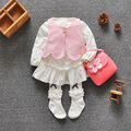 Fashion 2016 Baby Set Color Cotton Baby Girl Clothes Causal Suits Cute Clothing Set Girl Vest +dress Spring Girls Dress 3Colors