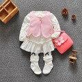 Moda 2016 del bebé de Color conjunto de bebé de algodón trajes causales ropa linda de la muchacha Vest + Dress muchachas del resorte se visten 3 colores