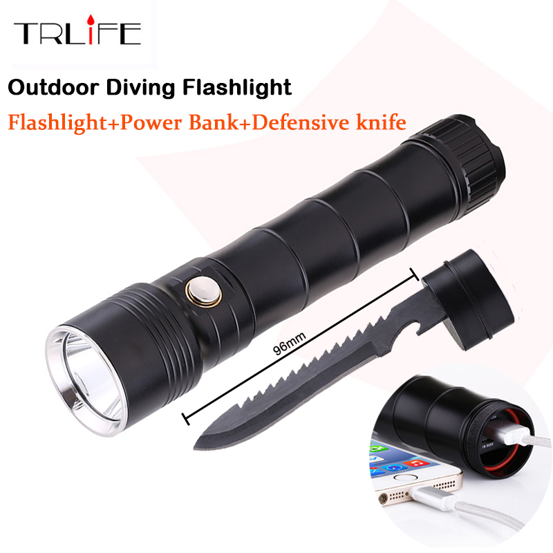 Multi-functional CREE XM L2 LED Flashlight 100m Diving Flashlight Power Bank Torch Tactical with Knife Self Defense zk35 cree xm l2 4500lm 5 mode flashlight torch led flashlight self defense lamp rechargeable with 18650 battery for outdoor