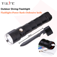 Multi Functional CREE XM L2 LED Flashlight 100m Diving Flashlight Power Bank Torch Tactical With Knife