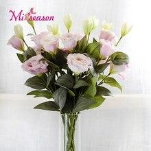 1 шт. Европейский искусственный цветок 3 головки поддельные Eustoma Gradiflorus Lisianthus Рождество Свадьба Праздник декор дома 5 цветов