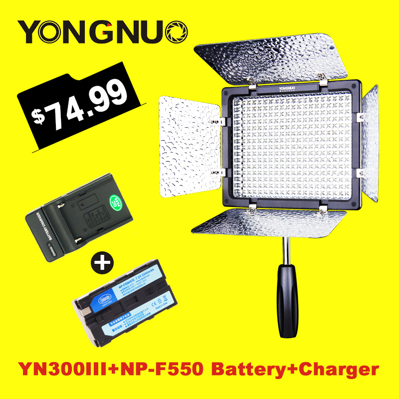 YONGNUO YN300III YN300 III LED Video Light with NP-F550 Battery and Charger Led Camera Lighting for Photography Studio