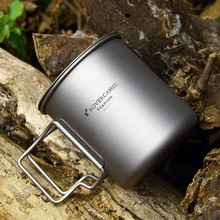 EDC Equipment Portable Camping Picnic Water Cup 500ml Water Cup Tea 100% Titanium Mug Outdoor Ultralight Camping Picnic Cookware