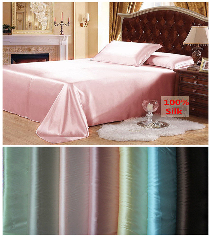 Gratis frakt 100% Mulberry Silk Flat Sheet Customizable Sheets Toppkvalitet Multicolor & Multi Size För Välj