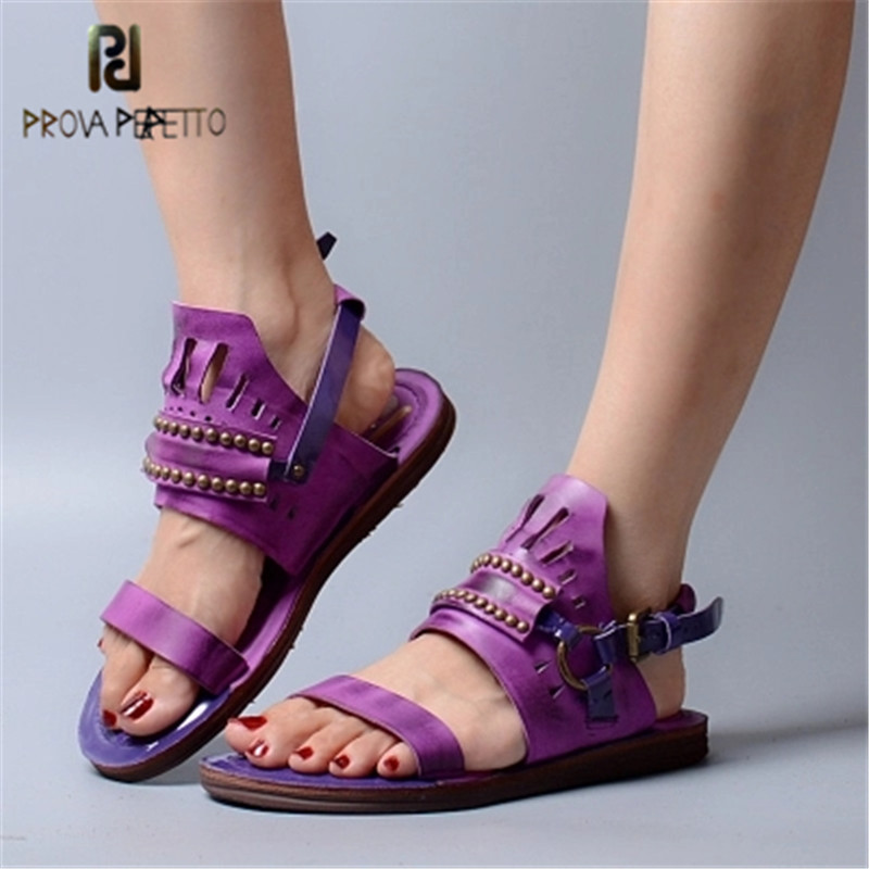 Prova Perfetto Flat Women Sandal Real Leather Do Old Retro Sandals Woman Buckle Hollow Out Summer