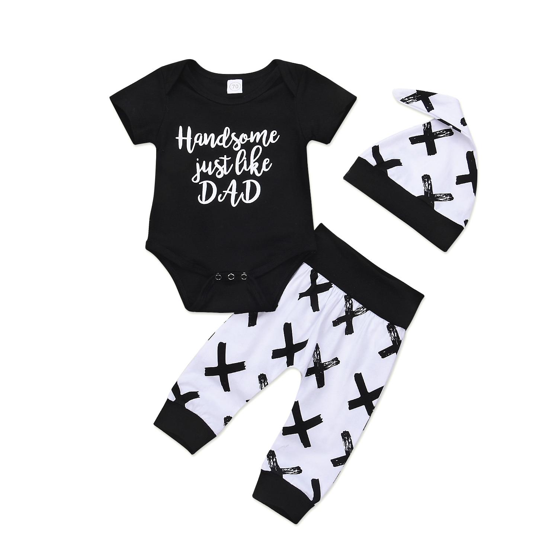 Pudcoco Newborn Infant Baby Boys Clothes Cotton Short Sleeve O-Neck Bodysuit Pants Leggings Outfit Set 0-24 Months Helen115