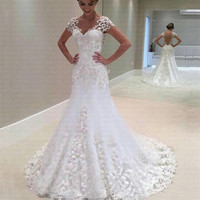 2019 Amazing V neck Appliqued Lace Illusion Back Mermaid Vestido De Noiva Stunning Cap Sleeve Wedding Dresses Formal Gowns