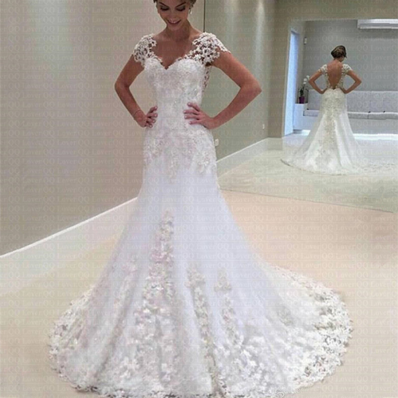 2020 Amazing V-neck Appliqued Lace Illusion Back Mermaid Vestido De Noiva Stunning Cap Sleeve Wedding Dresses Formal Gowns
