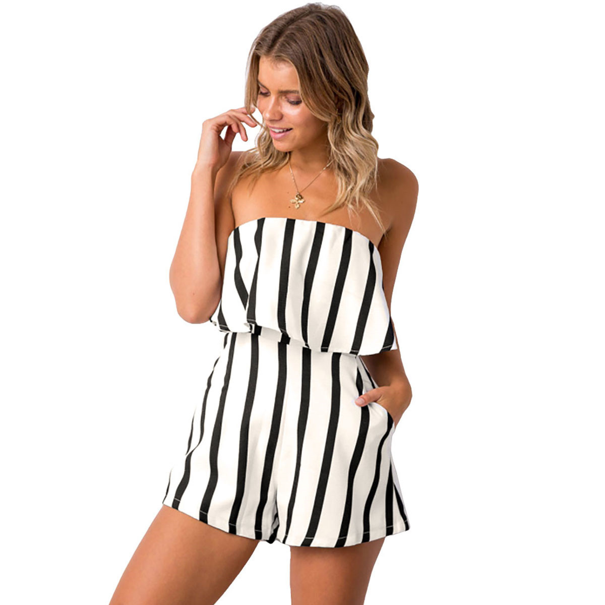 286484c9d Aphrodite Home Summer Women Strapless Playsuit Striped Rompers Ruffles  Sleeve Jumpsuit Backless Sexy Overall Beach Short Pants