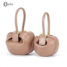 CUMYKA 2019 Genuine Leather Hobos Handbags Fashion Small Design Dumplings Ladies Tote Cow Luxury Bags For Women Solid