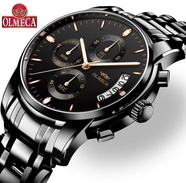 87e6a987fcf9 OLMECA hombres reloj superior de la marca de lujo de Relogio Masculino  impermeable relojes de acero