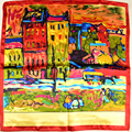 Van Gogh Painting Satin Scarves Printed Fashion Accessories Brand Silk Scarf Spring Autumn Women Small Square Scarves Red Blue