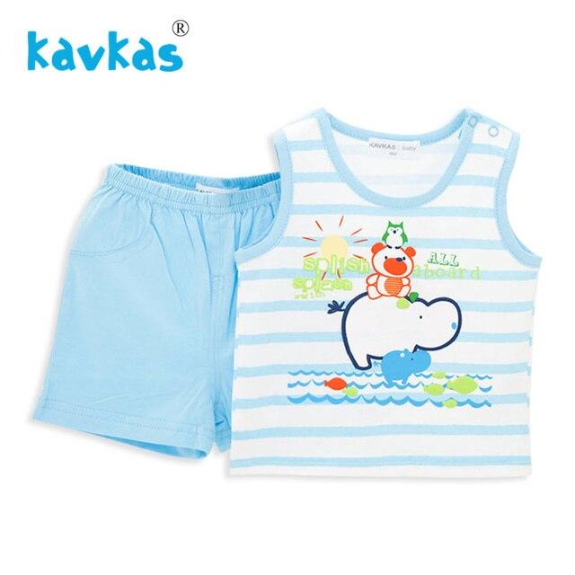 09e1494827ee Kavkas Baby Clothes set 100% Cotton Bear On Hippo Printing Summer ...