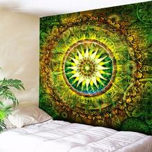 Mandala Tapestry Vintage Green Beautiful Wall Art Tapestry Indian Home Decor Sheet Belgium Bedding Cloth 200cmx150cm 130cmx150cm vintage scrawl print wall art decor tapestry