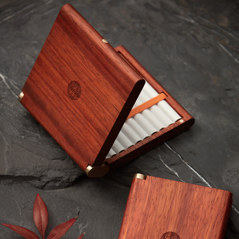 Creative Solid Wood Cigarette Box Portable Smoke 20 Gift Box Red Sandalwood Red Flower Pear Cigarette