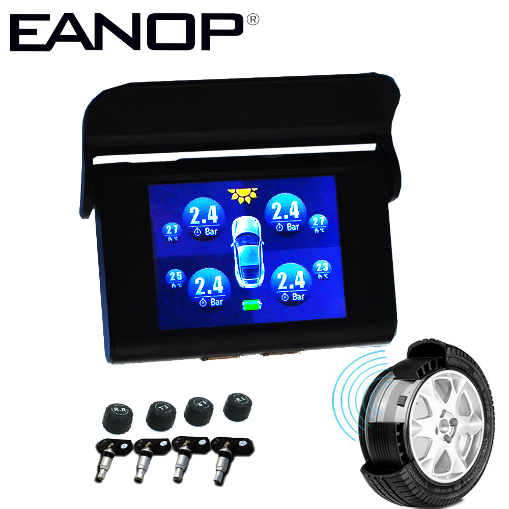 цена на EANOP Car TPMS Wireless Solar Tire Pressure Monitoring System Tyre Pressure Sensor Alarma Automovil 4 Internal External Sensor