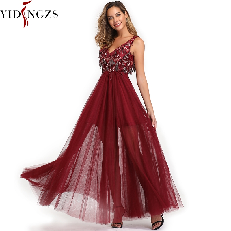 YIDINGZS 2019 Elegant V-neck Tassel Tulle   Evening     Dress   Sleeveless Long Evenning Party   Dress