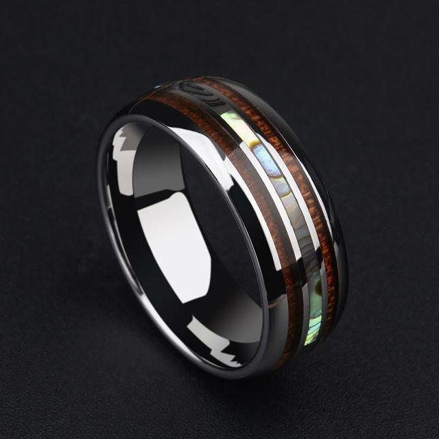"""הגעה חדשה 8 מ""""מ טונגסטן איש של טבעת כיפת להקת שיבוץ Koa עץ ושני PCS אמא של פרל עבור איש של חתונה/מסיבת תכשיטי 7-12"""