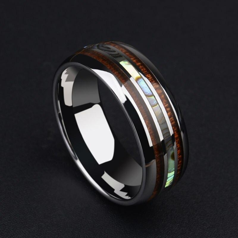 Nouveauté 8 MM tungstène homme anneau dôme bande incrustation bois Koa et deux PCS nacre pour homme mariage/fête bijoux 7-12