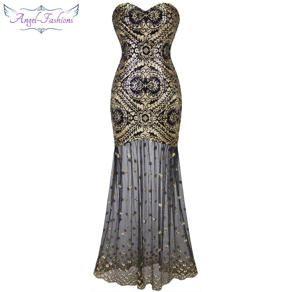 Angel fashions Embroidery Vintage Sequin Gatsby 20 S Gold Flapper Evening Dress 042