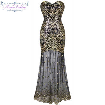 Angel-fashions Embroidery Vintage Sequin Gatsby 20\'S Gold Flapper Evening Dress 042 - DISCOUNT ITEM  20% OFF Weddings & Events
