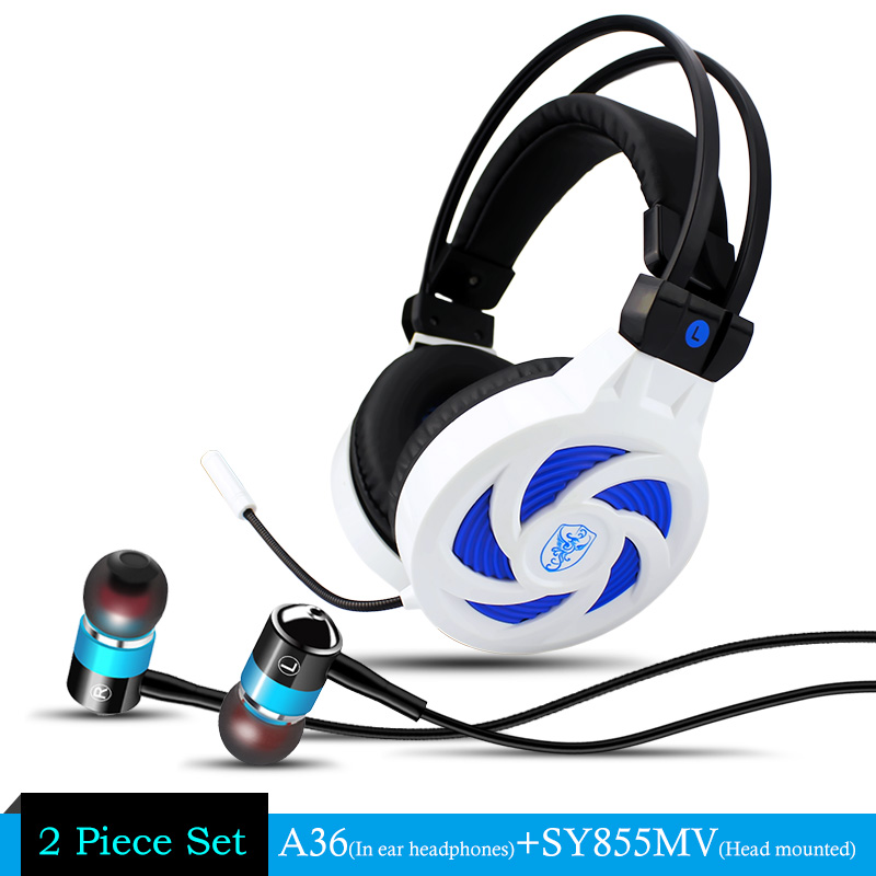 Soyto Stereo Bass Computer Gaming Headset Headphone With Microphone For Computer Gamer + A36 Stereo Metal Earbuds Brand Earphone rock y10 stereo headphone earphone microphone stereo bass wired headset for music computer game with mic