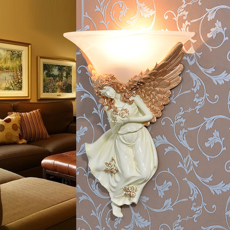 Nordic Retro LED Angel Wall Sconce Lamp Creative Resin Glass Figure Mounted Wall Light Home Fixtures for Living Room Bedroom fumat stained glass table lamp high quality goddess lamp art collect creative home docor table lamp living room light fixtures