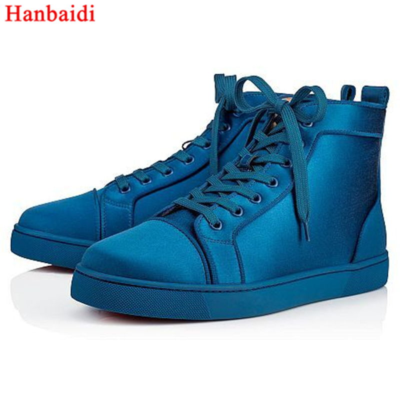Hanbaidi Top Quality Blue Silk Mens High Top Casual Shoes Round Toe Lace Up Loafers Runway Mens Sneakers Zapatos Mujer Shoes Men 2016 hot low top wrinkled skin cockles trainers kanye west chaussure flats lace up mens shoes zapatos mujer casual shoes