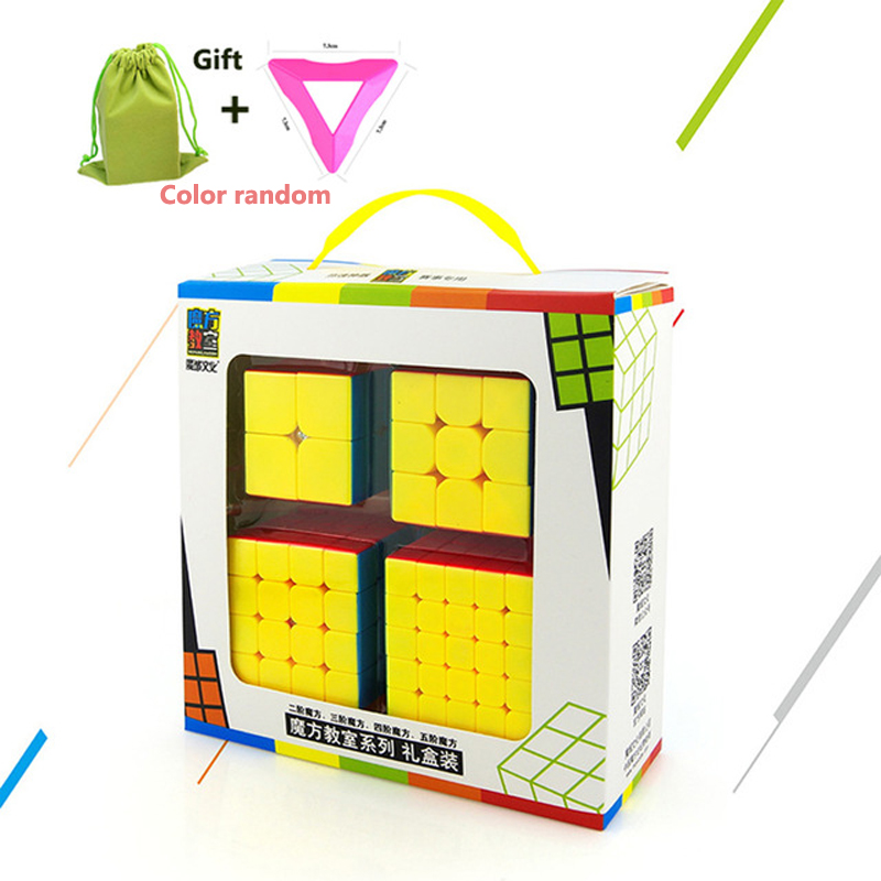 New 4 Pcs Brain Teaser Magic Speed Cubes 2nd order 3rd order Fourth order Stickers Speed Cubes Set Cube base + storage bag Gift 8061 3x3x3 brain teaser magic iq cube multicolored 6 pcs