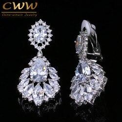 Cwwzircons lindo prata cor balançar gota cz zircônia feminino longo clip em brincos para sem furo perfurado orelhas cz006