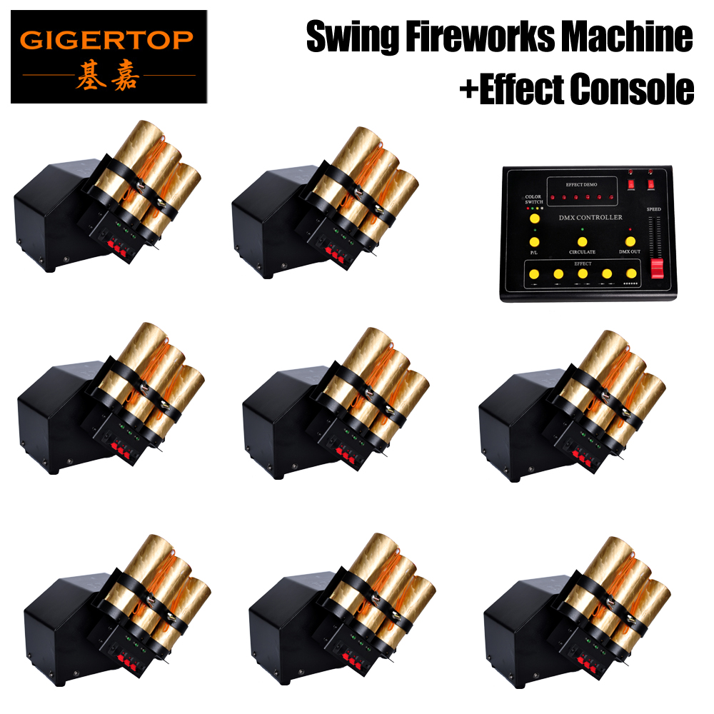 Free Shipping 8pcs/lot+1pcs DMX 512 Controller Swing Fireworks DMX 512 3Chs Fire Work Machine 90V-240V For Wedding Disco Party