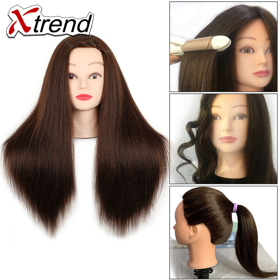 Quality Hair Mannequins Salon Hairdressing Hair Styling Training Head Mannequin 22 Inch With Holder Hairstyle Practice Free Ship