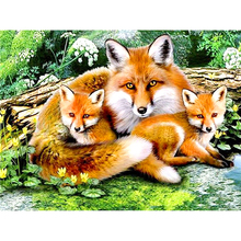 "Full Square/Round Drill 5D DIY Diamond Painting ""Animal Fox family"" 3D Embroidery Cross Stitch 5D Rhinestone Home Decor Gift"