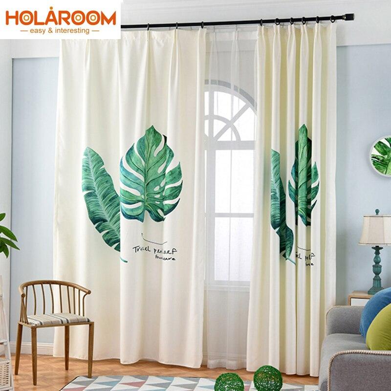 Vert Feuilles rideaux Sujet Plantes rideau pour chambre salon ...