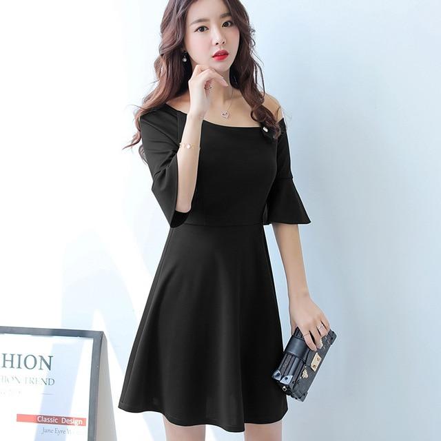 dfe5fb8a1c2 Summer dress women clothing Flare sleeve bodycon dress Korean cute Dew  shoulder O-neck Black Dress students dress Vestidos