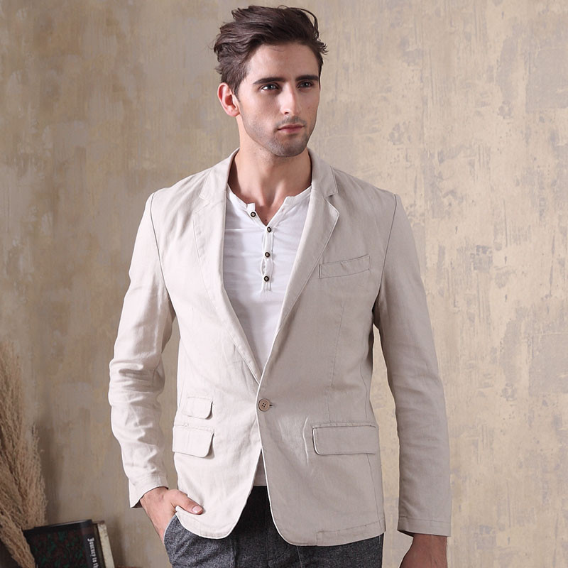 Coton lin hommes décontracté à manches longues Slim Fit Blazer simple bouton costume veste mince décontracté mâle Blazers 2018 nouveau A5603-in Blazers from Vêtements homme on AliExpress - 11.11_Double 11_Singles' Day 1