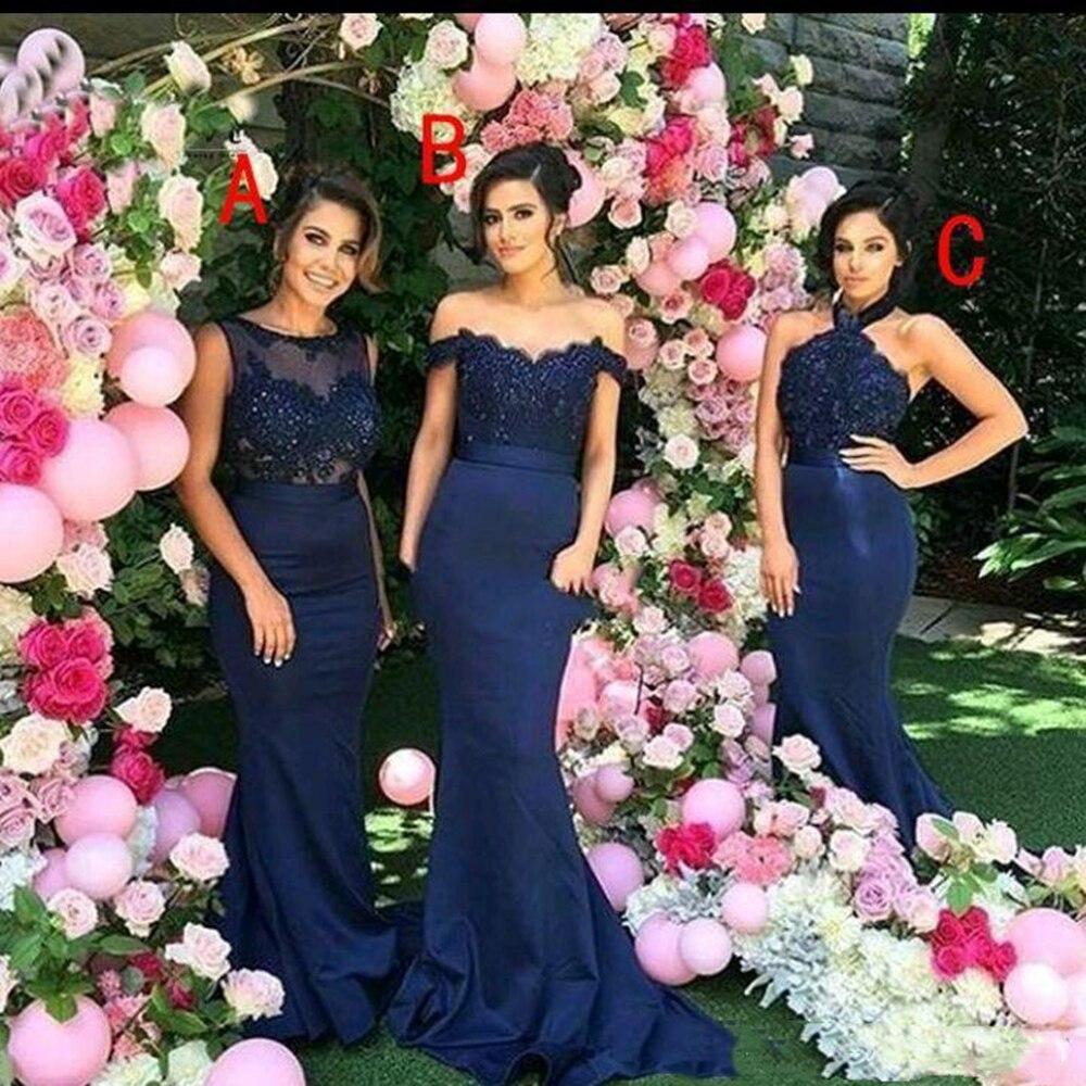Styles mixtes longues robes de demoiselle d'honneur sirène dentelle Applique longue demoiselle d'honneur robes de mariée invités vendu par grossiste usine