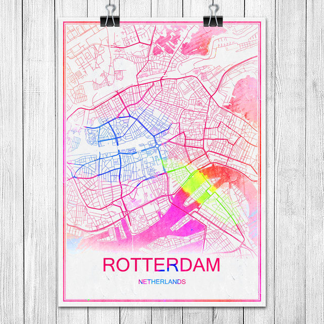 Colorful world city map rotterdam netherlands print poster abstract colorful world city map rotterdam netherlands print poster abstract coated paper bar cafe living room home gumiabroncs Gallery