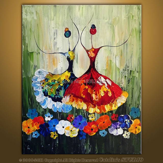 Hand Painted Canvas Oil Paintings Ballet Abstract Art Painting Dancer Kids Room Decor