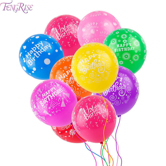 Online Shop FENGRISE 10pcs Multicolor Latex Air Balloons Decor Kids Favors 1st Birthday Balloon First Party Decoration Baby Shower