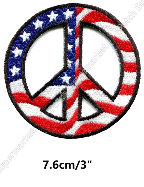 Retro Peace Sign Us Usa Flag Patches Hippie Embroidered Iron On
