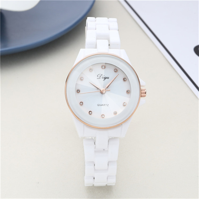 Luxury DIGU Brand Women Watches 2017 Fashion Casual Elegant Ceramic White Quartz Wrist Watch Women Waterproof
