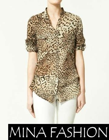 LEOPARD MANDARIN COLLAR CHIFFON SHIRT BLOUSE Freeshipping 1689