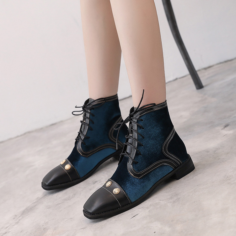 2018 autumn and winter new Martin boots female British wind retro hit color rivets wild lace with thick short boots 3