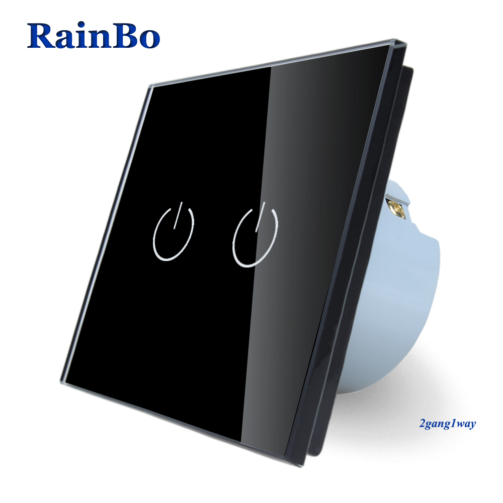 RainBo Brand  New Crystal Glass Panel wall switch EU Standard 110~250V Touch Switch Screen Wall Light Switch 2gang1way black brand new mts 6000 touch screen glass well tested working three months warranty